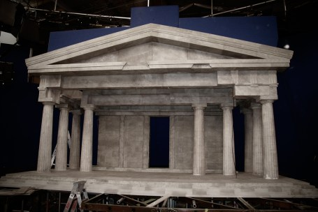Collapsable plaster miniature of the Parthenon for an American TV commercial for American Energy