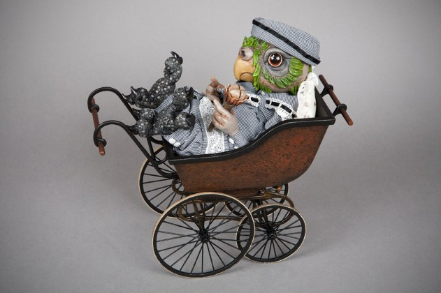Victorian pram commissioned for Doll Artist Tanya Marriott [cardboard, spring steel]