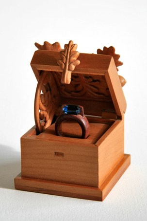 Betrothal ring box with ring [box- swamp Kauri, cherry, ring- jarrah, london blue topaz]