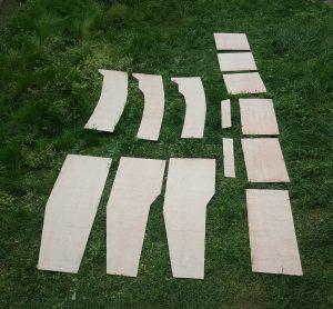 Panels for rudder, daggerboard and daggerboard trunk.