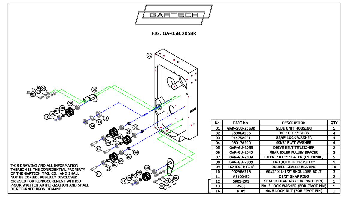 Fig. GA-05.2058R Layout of Idler Pulleys and Idler Pulley Tensioners