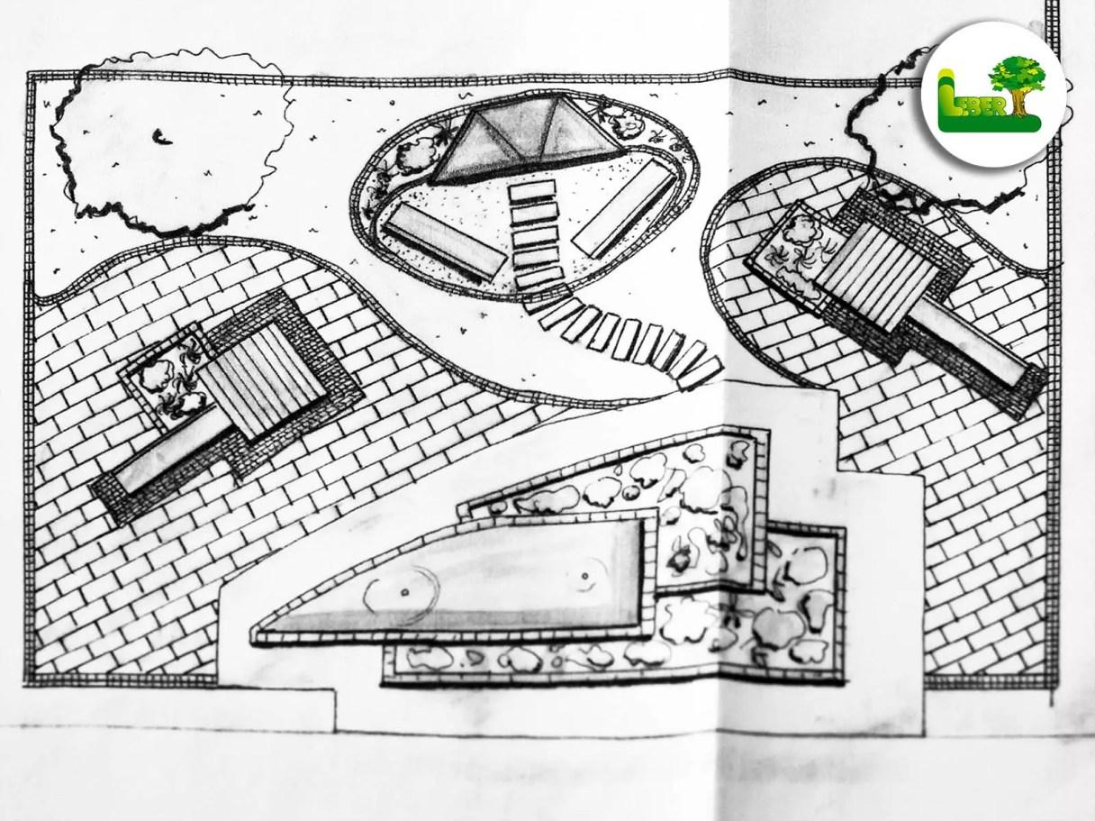 2D Gartenplanung einer Parkanlage mit Kinderspielecke, Brunnen und einer Sitzecke.