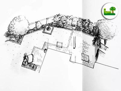 Gartenplanung einer Hofzufahrt in 3D. -Mit Sichtschutz und modernen Gestaltungselementen.