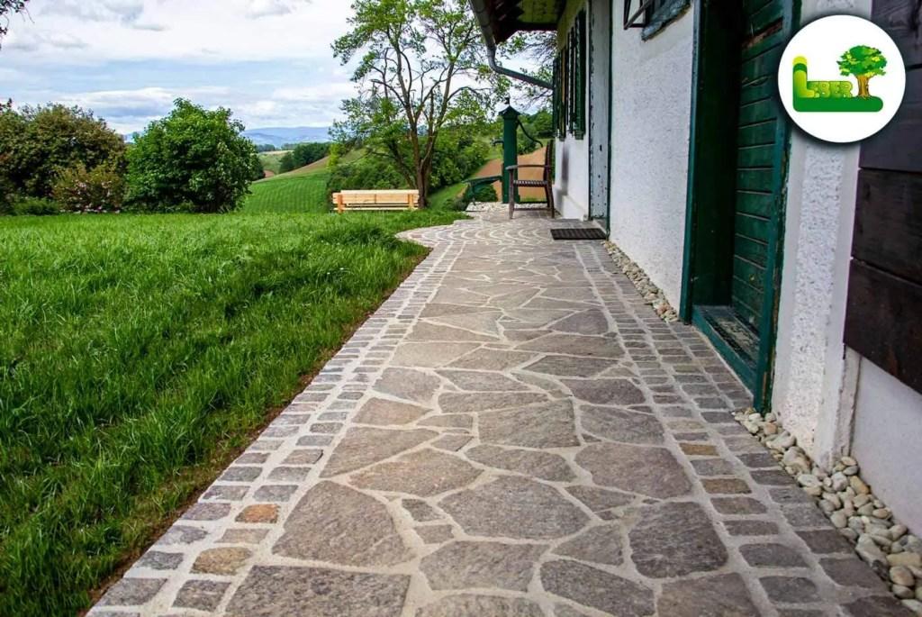 Einfassung mit Porphyr Würfel - KPS1 oder KPS2 - Garten Leber Steiermark