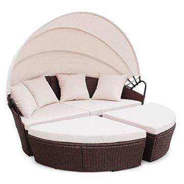 Polyrattan Sunbed Lounge rund mit kissen und Dach