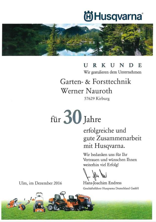 Husqvarna 30 Jahre Partnerschaft - Urkunde