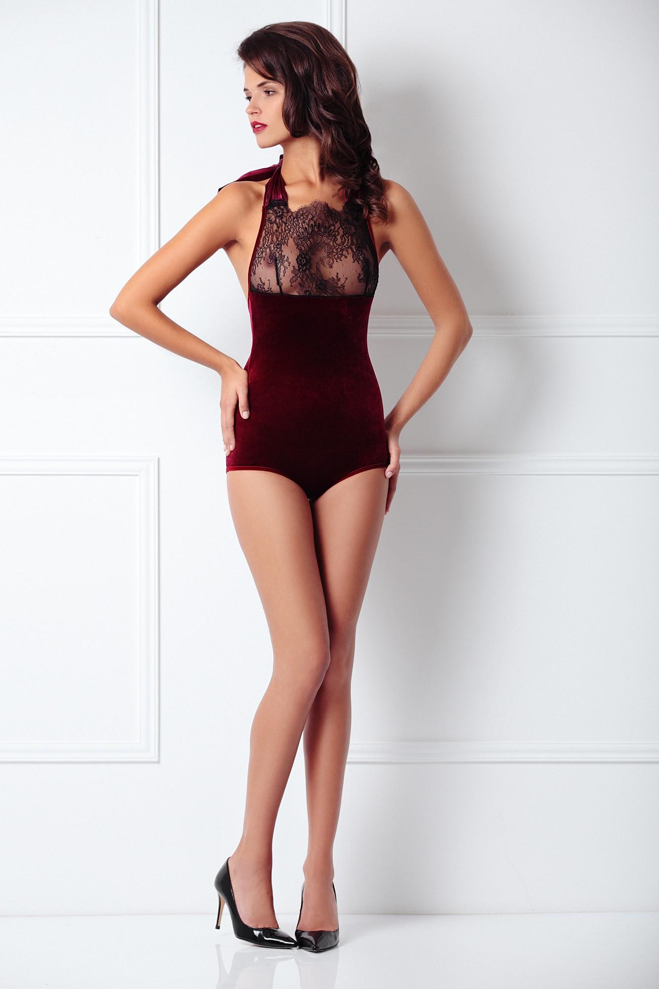 Lace Top Velvet Bodisuite, €169