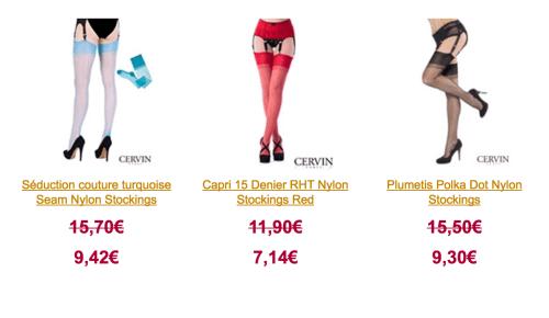 распрдажа колготок и чулок французского бренда Cervin