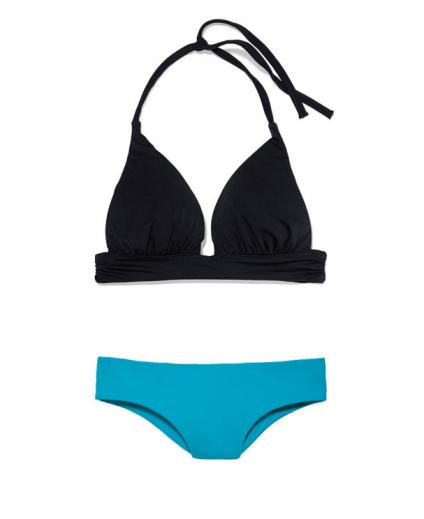 Mix & Match бикини от Victoria's Secret, около 3 500 руб.Работаем с цветом. Чёрный зрительно уменьшает грудь, яркий цвет трусиков привлекает внимание на бёдра. Плюс ширина трусиков утяжеляет низ