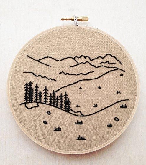 Или контурный узор с лесами и полями