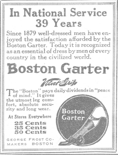 Boston sock garters advertisement
