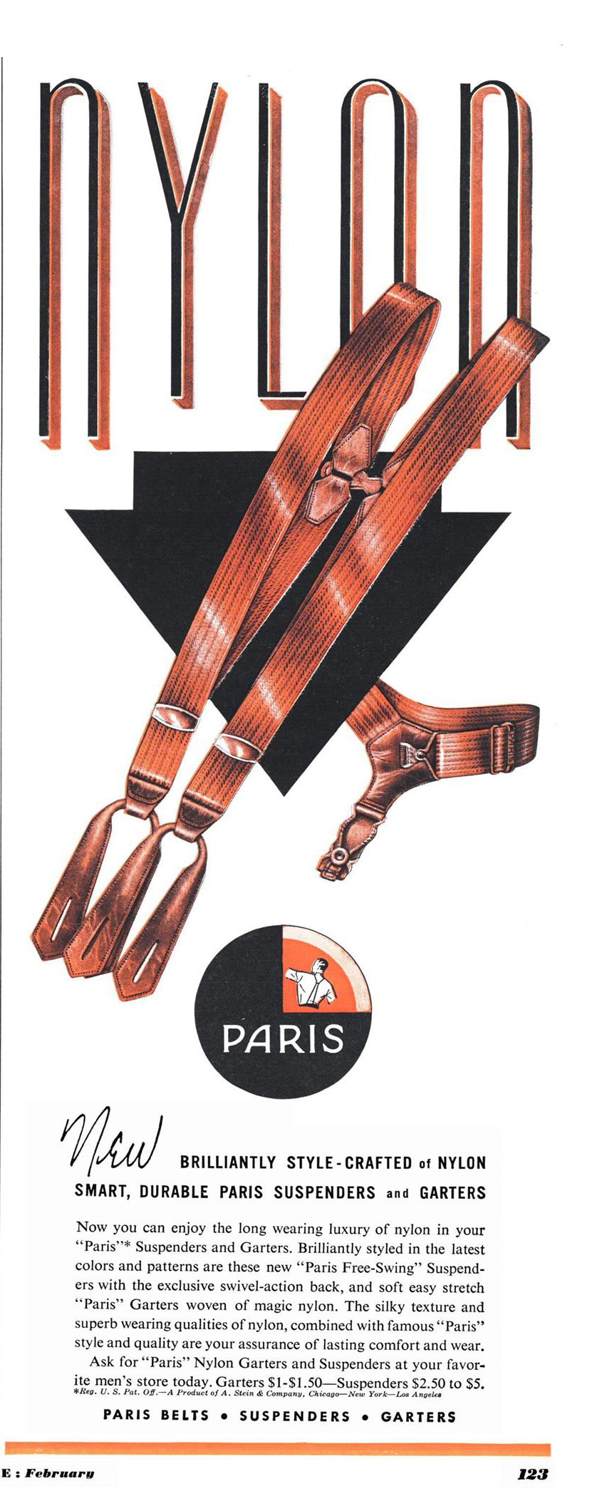 Esquire, February 1, 1950. A. Stein & Company Paris sock garters advertising