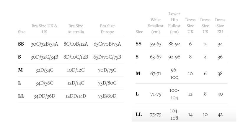 Таблица соотвествий размеров Bordelle
