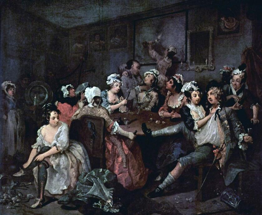 Уильям Хогарт, «Карьера мота. Сцена в таверне», 1732-1735