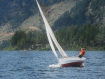Finally, after all these years, some images of the boat beating to windward! About 9-10 knots of wind, pretty ideal conditions singlehanded, she's rapidly overpowered with a little more wind, and, with no reeefing points rigged I have to get more crew weight on board once the breeze is up above 15) Taken by a friend, July 27, 2011