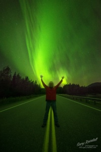 A selfie under the Northern Lights in Alaska