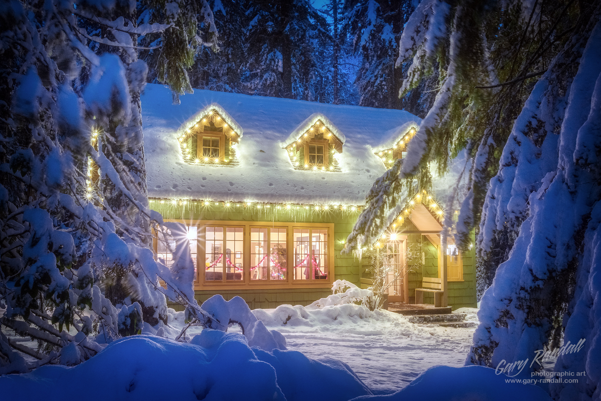 A Christmas Cabin in The Woods.