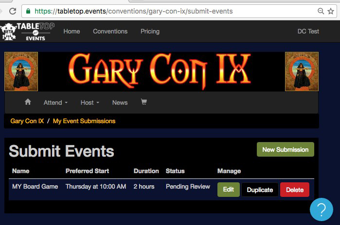 submitting events to Gary Con