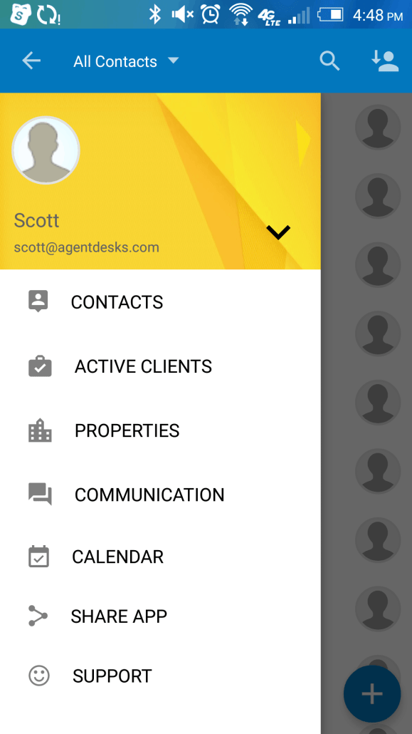 AgentDesks Android - Menu