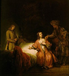 Joseph Accused by Potiphar's Wife at the midpoint of his descent into greatness (Rembrandt)