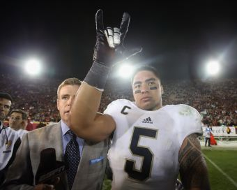 During a storybook season that ended in the national-championship game, it turns out that Notre Dame's star linebacker, Manti Te'o, had a girlfriend who was just a story. The university was forced to react swiftly to news of the hoax, experts said, because of the trajectory of scandal in a social-media age. (Jeff Gross, Getty Images)