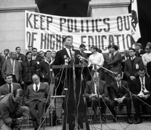 "The newly elected Gov. Ronald Reagan confronted student protesters in Sacramento just weeks before dismissing ""intellectual luxuries."" (Bettmann, Corbis, AP Images)"