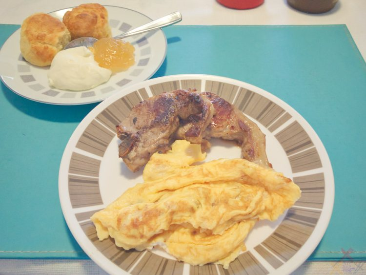 Lamb chops with bacon eggs and scones Gary Lum