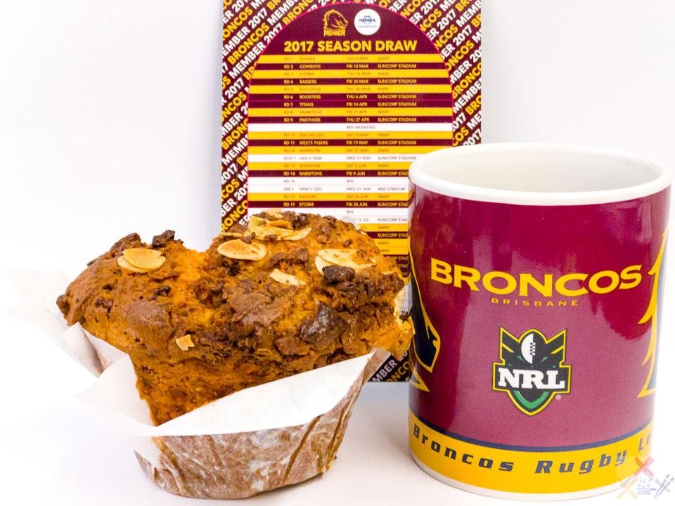 The 2017 #NRL season kicks off tonight. Let's GO Brisbane Broncos. Coffee with Urban Bean almond and white chocolate muffin. Gary Lum