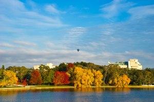 Balloon and Autumn trees on Lake Burley Griffin Bridge to Bridge Gary Lum