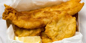 Battered fish and potato scallops from Jamison Takeaway Gary Lum algebra