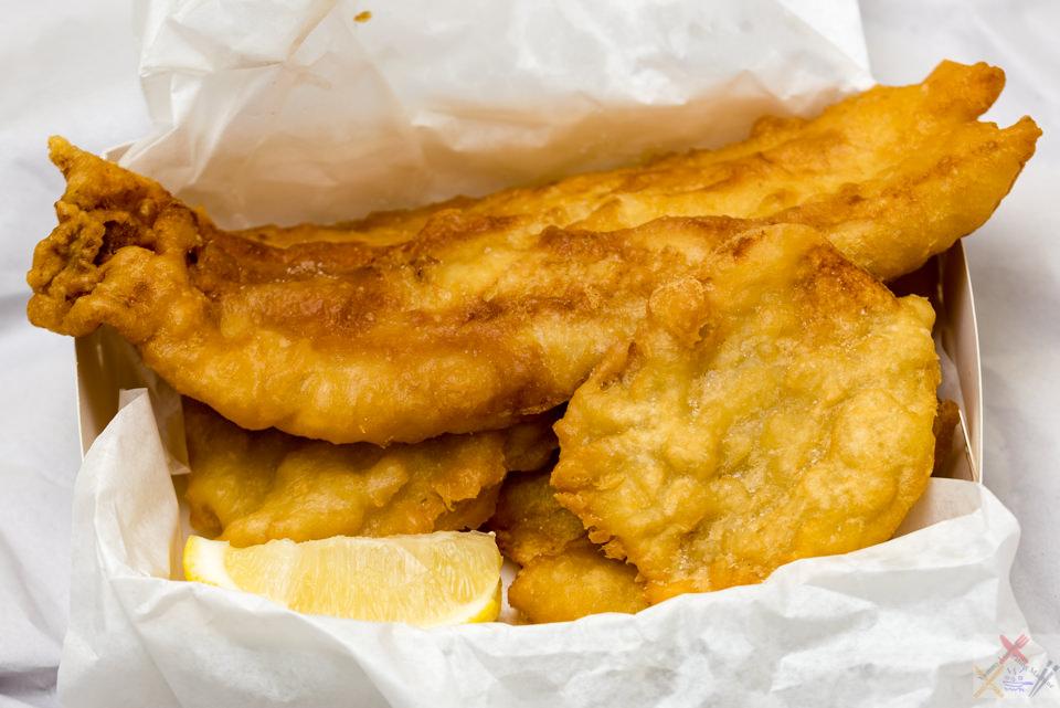 Battered fish and potato scallops from Jamison Takeaway Gary Lum algebra