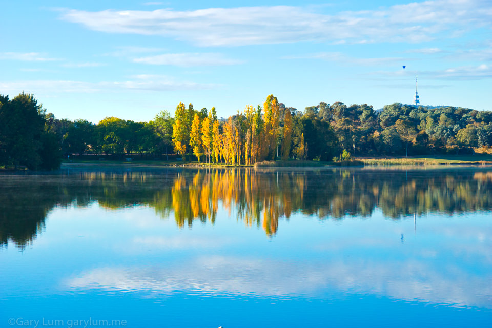 Lake Ginninderra and a balloon Reflections Gary Lum