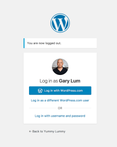 The usual dialogue box when entering the WordPress dashboard Gary Lum