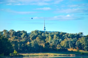 Telstra Tower and a balloon Reflections Gary Lum