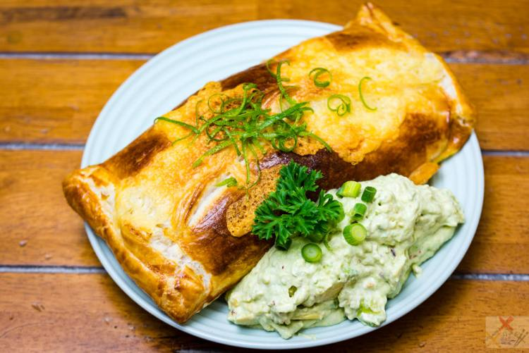Birthday baked cheesy salmon parcel with creamy avocado made by me, Gary Lum