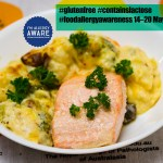 Gluten-free baked salmon with cheesy cauliflower and broccoli Gary Lum