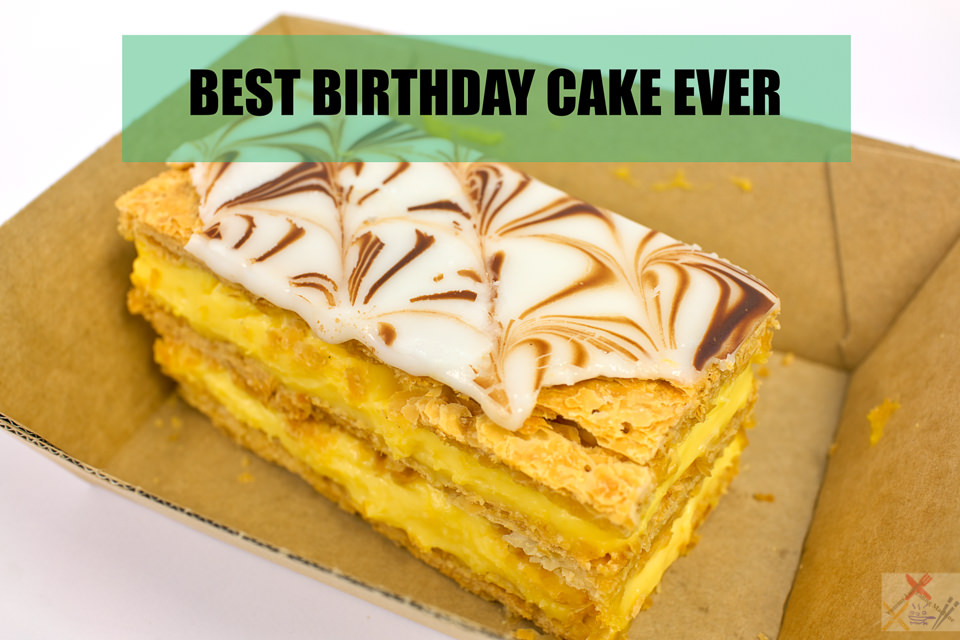 Gumnut patisserie Birthday Vanilla Slice from Kaitlyn for my 52nd birthday Gary Lum