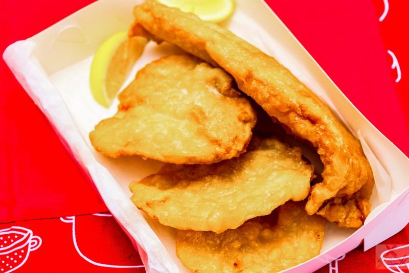 Battered fish and potato scallops Gary Lum