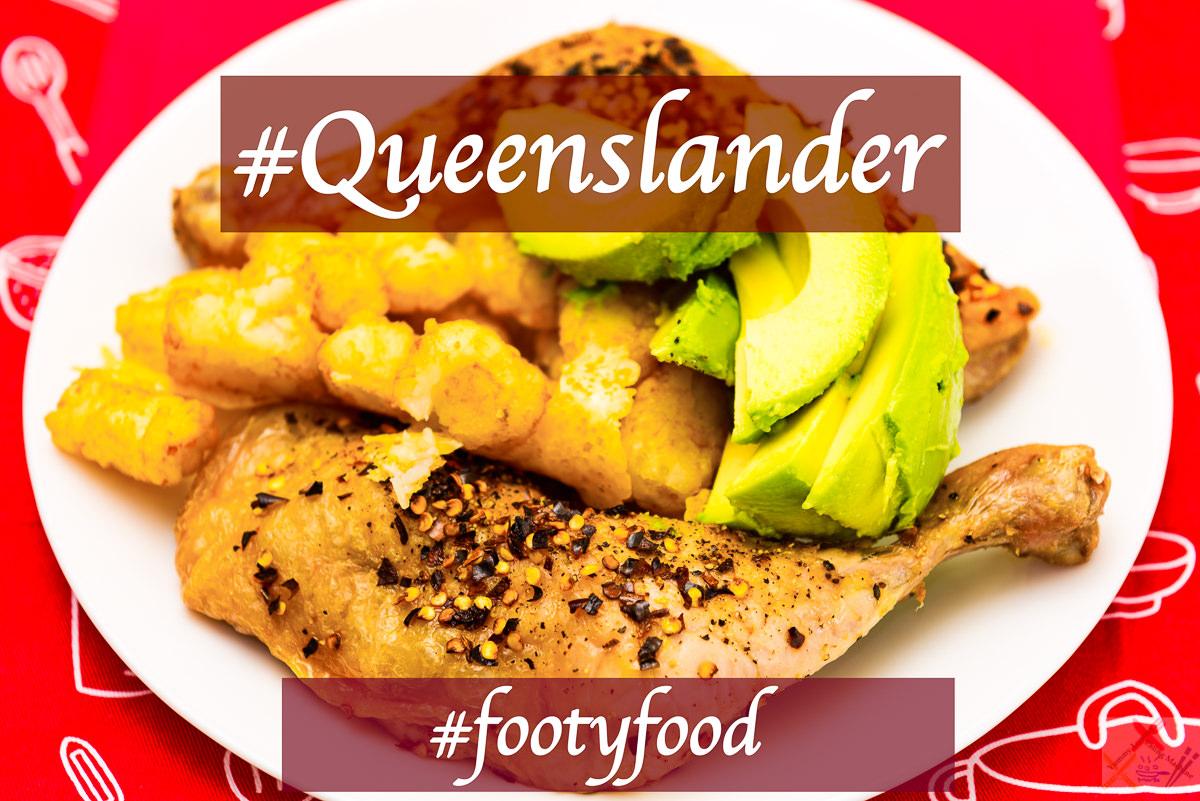 #footyfood #origin Chicken Maryland, potato gems and avocado #qlder Gary Lum