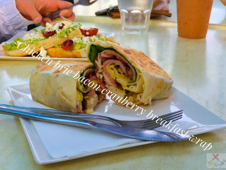 Chicken bacon brie cranberry breakfast wrap from Silk Caffe