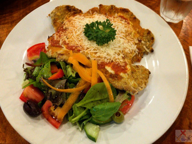 Crumbed veal parmigiana at Bel Paese Trattoria Pizzeria, Cairns City