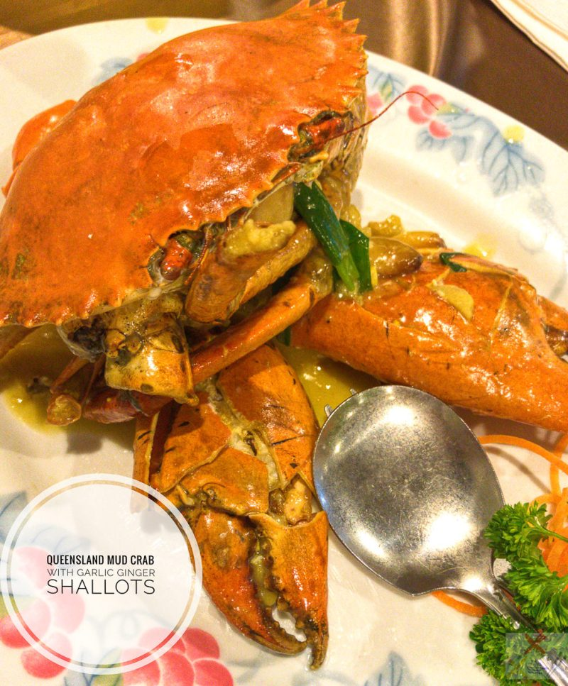 Queensland mud crab with garlic ginger and shallots at Taste of China