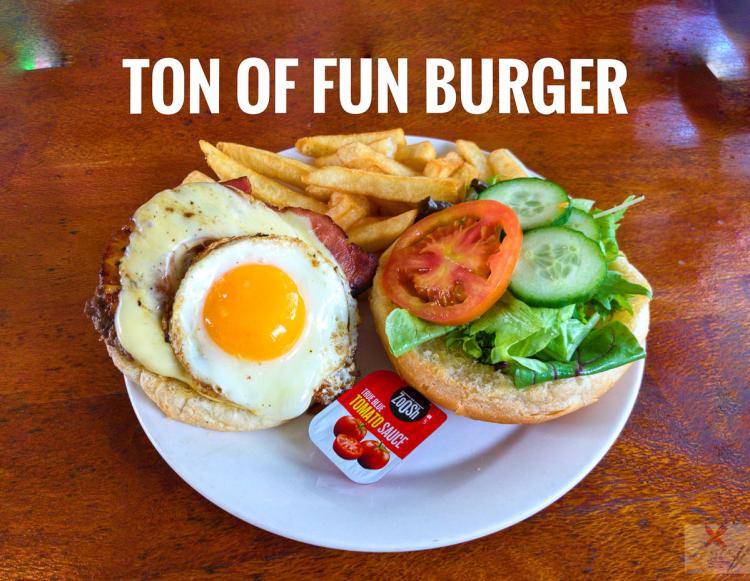 Ton of Fun burger from the rainforest Views Restaurant Kuranda