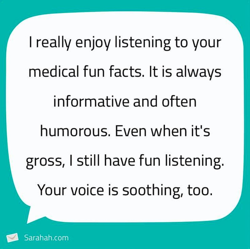 Sarahah comment about Medical Fun Facts Gary Lum