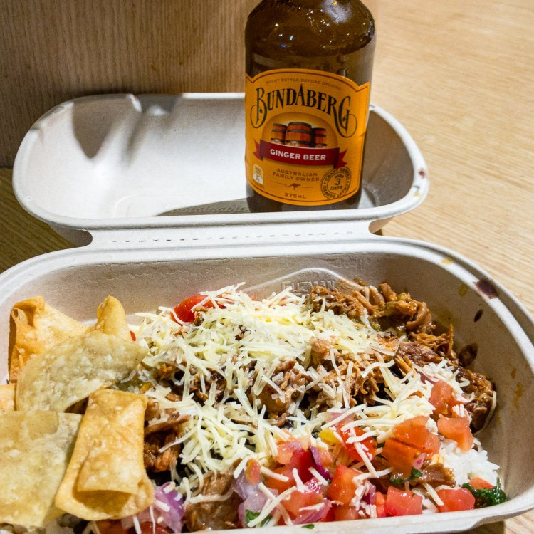 Spicy pork burrito bowl from Guzman Y Gomez Gary Lum