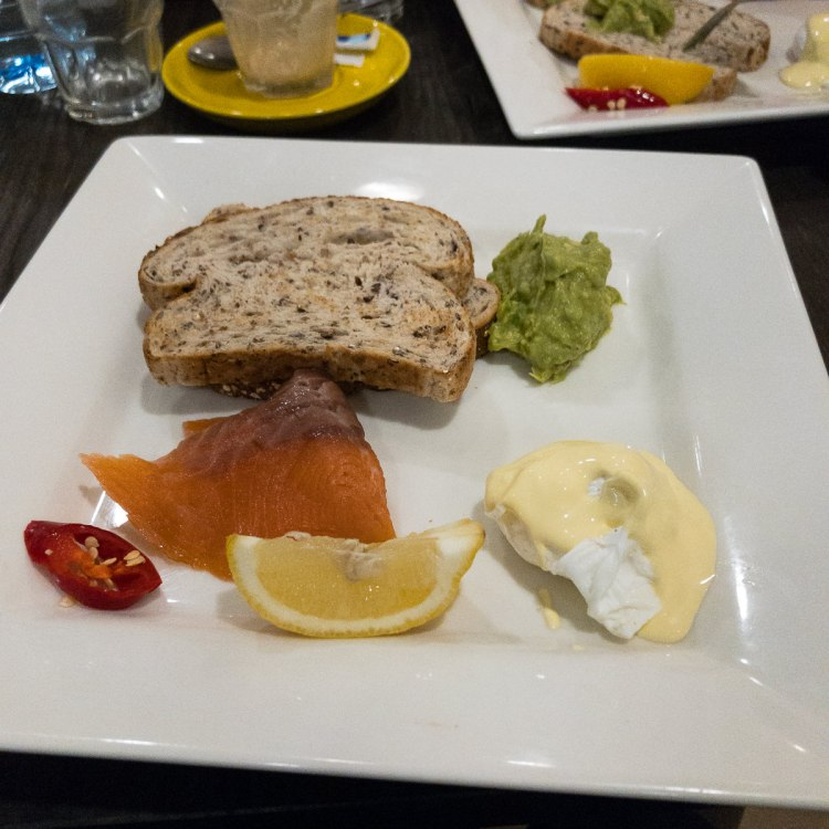 The Gary at Cafe 63 is smoked salmon, a poached egg, Hollandaise sauce, smashed avocado and toast the ekka 2017 Gary Lum