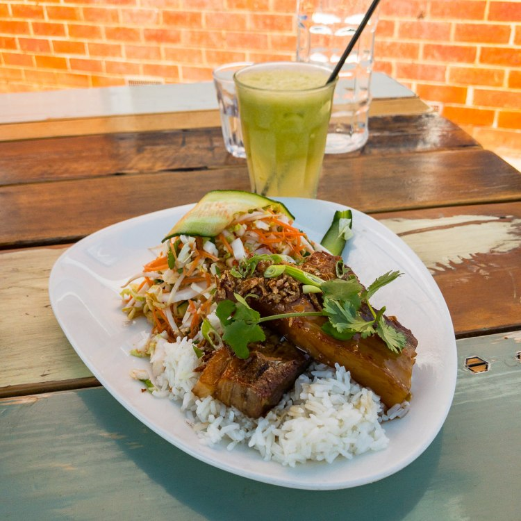 Caramelised pork belly and coriander salad with apple ginger and lime juice Gary Lum