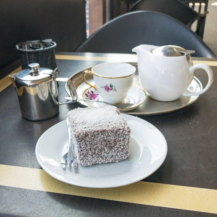 Lamington and tea at Violet Town Café Gary Lum