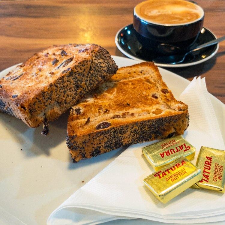 Raisin toast and coffee at Hides Bakery Benalla Gary Lum