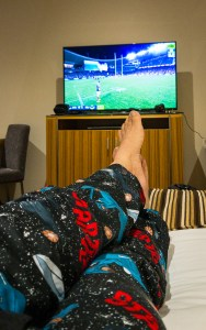 Star Trek PJs while watching the NQ Cowboys defeat the Sydney Roosters Gary Lum